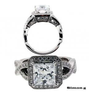 Simon G. .50ct diamond Engagement ring in 18K new, fits 2ct Square cut diamond size 6