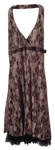 Love Tease Lace Brown Halter Bow Dress
