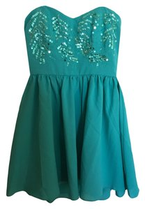 Minuet Petite Turquoise Strapless Flare Sequin Dress