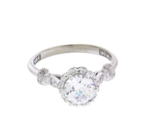 Tacori Antique look diamond engagement ring in 18k size 6.5
