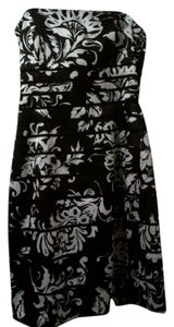 White House | Black Market Strapless Satin Damask Bm Dress