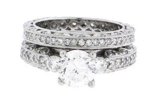 Tacori Style Eternity Wedding Set in18k white gold will fit 1ct diamond size 6.5.