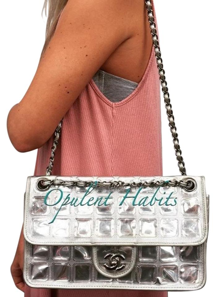 5a5f11441b28 Chanel Ice Cube Classic Flap Silver Plastic Shoulder Bag Image 0 ...