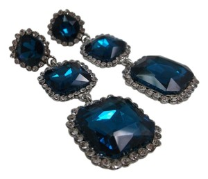 Cobalt Blue and White Austrian Glass Long Earrings Free Shipping