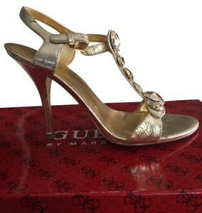 Guess By Marciano Embellished Leather Gold Sandals
