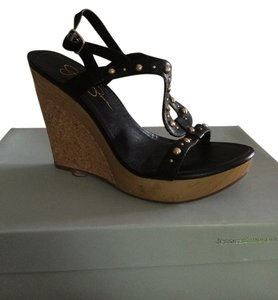 Jessica Simpson Gold Studded Leather Black Wedges
