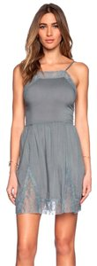 Free People short dress GREY Lace Inset on Tradesy