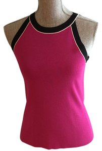 Cable & Gauge Fuchsia, Black, White Halter Top