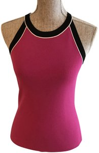 Cable & Gauge Size Small And Pink Fuchsia, Black, White Halter Top
