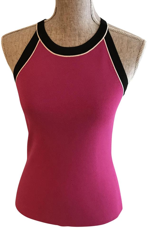 a963890f566048 Cable   Gauge Fuchsia Black White And Small) Halter Top Size 6 (S ...