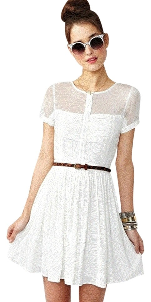 5215951ceb5 Nasty Gal White Sheer Paneled Above Knee Short Casual Dress Size 0 ...