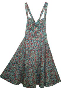 London Times short dress Blue/Orange Floral on Tradesy