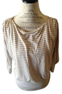 White House | Black Market Top Striped, tan and cream