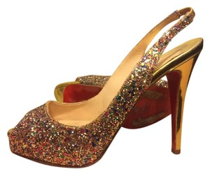 Christian Louboutin Glitter Peep Toe Platform Party Special Occasion Leather Silver Sling Back Slingback Gold / Multi Pumps