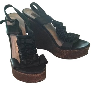 Steve Madden Tuxedo Leather Black Wedges