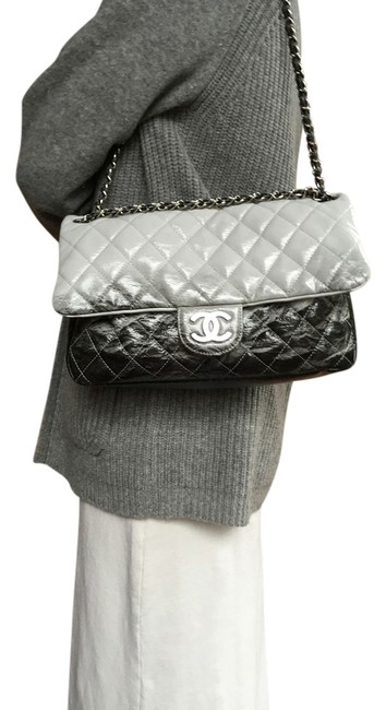 Item - Classic Flap Ombre Degrade Black and Gray Patent Leather Shoulder Bag