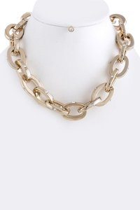 Unknown Chunky Gold Oval Link Crystal Necklace Set