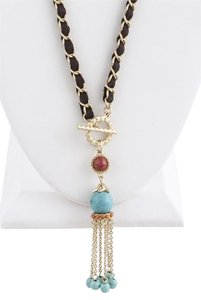 Unknown Faux Gem Tassel Long Necklace Set