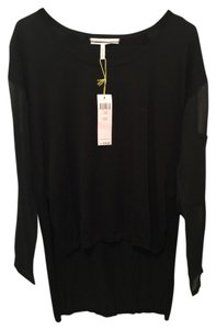 BCBGeneration Sheer Elbow Patch Tail Sweater