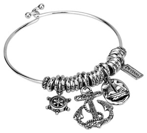 Other Nautical Helm Anchor Charms Silver Bracelet Bangle