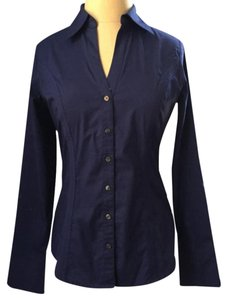 Express Classic Fitted Work Office Button Down Shirt Blue