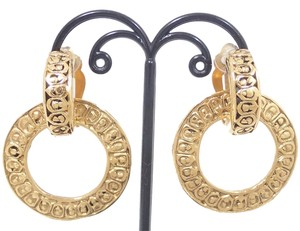 Chanel Auth CHANEL CC Logo Clip-on Earrings Gold tone MADE IN ITALY Ring round circle