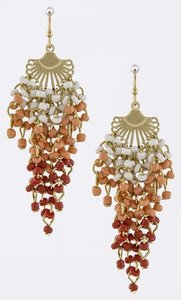 Unknown Coral and Red Seed Bead Cascade Earrings