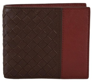 Bottega Veneta NEW Bottega Veneta 193642 Brown Rust Colorblock Woven Leather Bifold Wallet