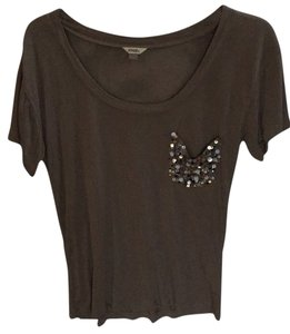Fossil T Shirt Tan with sequin pocket