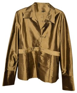Kasper Silk Sz L Top Gold