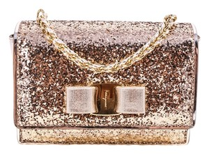 Salvatore Ferragamo Ginny Leather Gold Bow Cross Body Bag