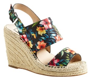 Dolce Vita Tropical Floral Black Multi Wedges