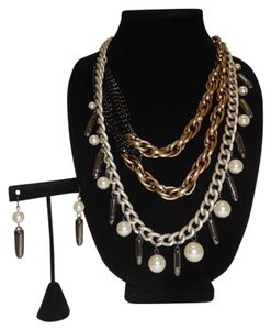 Other Chunky Mixed Military Inspired Bullet Triple Layered Necklace Set