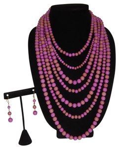 Other Chunky Mixed Purple Multi Ball Beads Layered Necklace Set