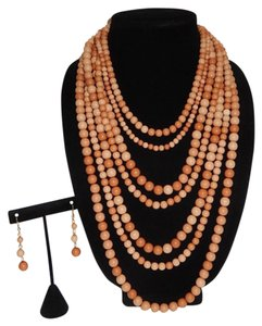 Other Chunky Mixed Brown Multi Ball Beads Layered Necklace Set