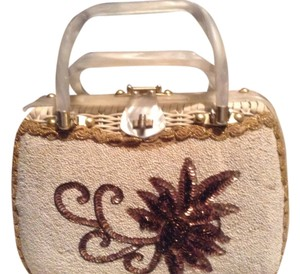 Tropical Miami Vintge Wicker Sequin Wicker Satchel in white
