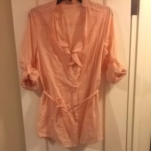 New York & Company Button Down Shirt Light Peach