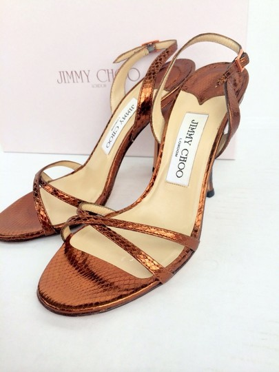 Jimmy Choo Heels Brown Strappy Heels Heels Size 6.5 Bronze Metallic Flats