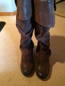Coconuts Knee High Faux Leather Heels Heeled Fold Down Shades of Brown Boots