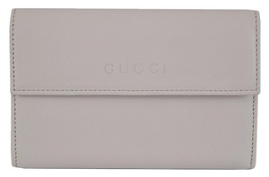 Gucci New Gucci 346057 Cream Deer Skin Leather Logo French Wallet W/Coin Pocket