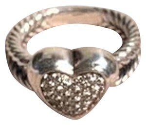 David Yurman David Yurman Sterling Silver and Diamond Cable Heart Ring