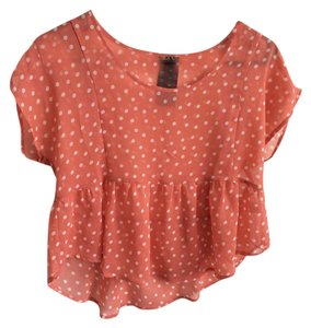 Forever 21 Cute Polka Dot Cute Feminine Peplum Sheer Sheer Dot 21 Wallpapher 21 Top Peach