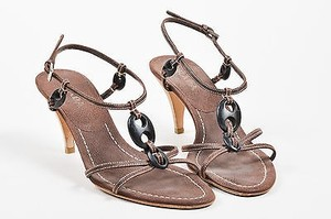 Prada Leather Beaded T Brown Sandals