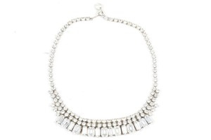 Weiss Furs Weiss Silver Tone Round Rectangle Rhinestone Embellished Strand Necklace