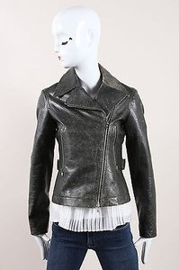 ALAA Alaia Dark Gray Distressed Motorcycle Jacket