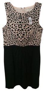 Ann Taylor LOFT Animal Print Black Sleeveless Dress