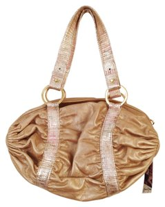 Junior Drake Leather Metallic Satchel in Gold
