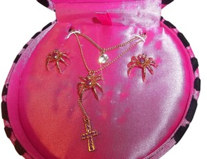 Betsey Johnson RARE Betsey Johnson Gold/Pink Spider Necklace Earring Set Lot NWT $65