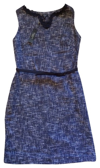 Preload https://item2.tradesy.com/images/talbots-navy-new-metallic-tweed-shift-workoffice-dress-size-petite-10-m-1258641-0-0.jpg?width=400&height=650