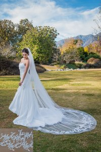 Zveil Ivory Or White Long Lace Applique Cathedral Bridal Veil